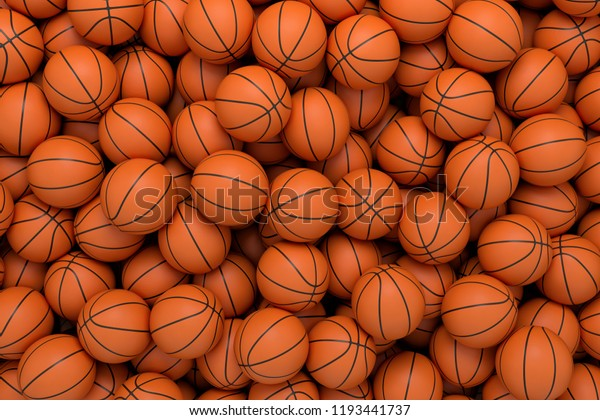 3d rendering of many orange basketball balls lying in an endless pile seen from the top. Sport and free time. Exercise and competition. Team sport.