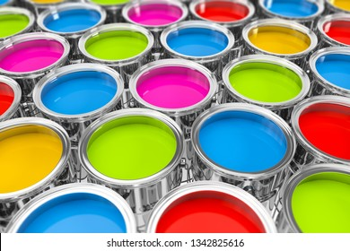 3d rendering of many paint buckets with bright colors on white ground