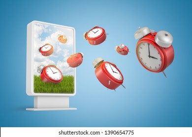 3d rendering of many red alarm clocks flying out from information display screen on gradient blue background. Meet deadline. Adjust daily schedule. Corporate policy.