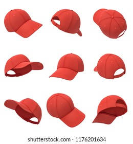 3d rendering of many red baseball caps hanging on a white background in different angles. Baseball hat. Casual headwear. Sport style.