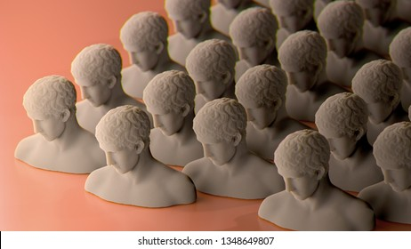 3d rendering of many rows with bust statues, on orange background. Subsurface scattering marble material. Abstract illustration for modern design. Man head antique sculpture.