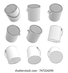 3d rendering of many still paint buckets with handles and closed lids isolated on a white background. Home improvement. Renovation supplies. Stocking up in paints.