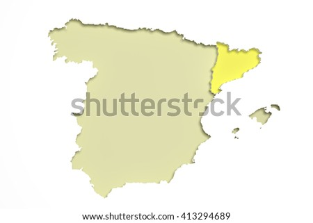 3 D Rendering Map Catalonia Spain Stock Illustration Royalty Free