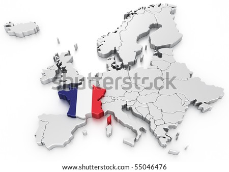 3 D Rendering Map Europe France Selected Stock Illustration