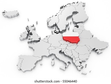 3d rendering of a map of Europe with Poland selected