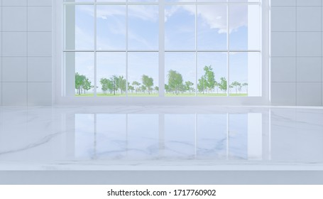 3d rendering of marble countertop product display and window and nature scenery.