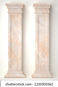 3d rendering marble Roman column. decoration of architecture. classic interior detail made of stone.