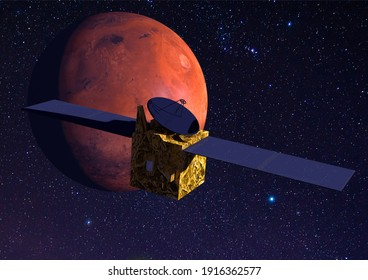 3D rendering Mars Mission Probe with Mars behind