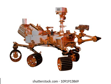 3D rendering of a Mars rover space vehicle isolated on white background