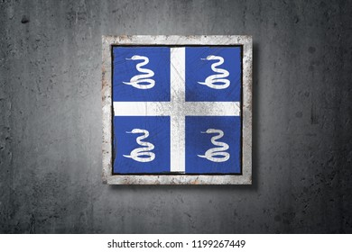 3d rendering of a Martinique flag in a concrete wall