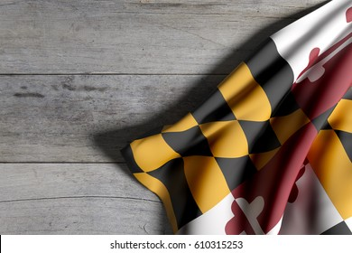 3d rendering of a Maryland State flag waving