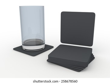 3D Rendering Matte Grey Square Table Coasters Template in Isolated Background with Work Paths, Clipping Paths Included.