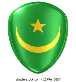 3d rendering of a Mauritania flag icon on white background.