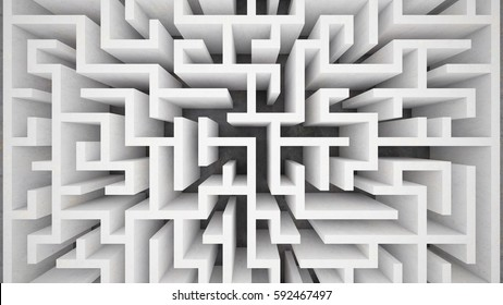 3d rendering maze in top view