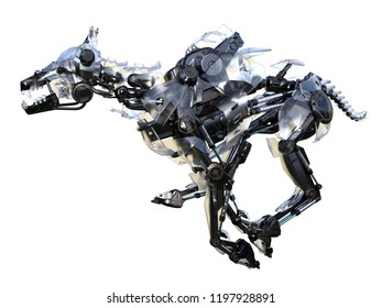 3d rendering mechanical robot dog running isolated