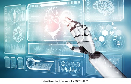 3D rendering medical artificial intelligence robot working in future hospital. Futuristic prosthetic healthcare for patient and biomedical technology concept.