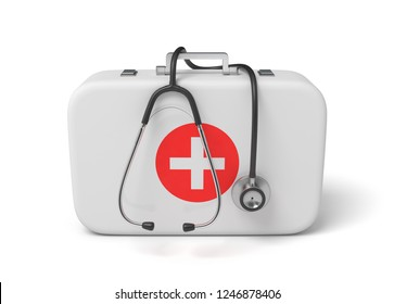 3d rendering of a medical bag with a stethoscope dangling down from it. Physician's daily work. Medical equipment and supplies. Helping people.