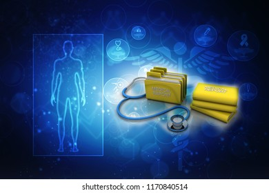 3d rendering medical folder with Stethoscope