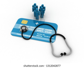 3D rendering medical Stethoscope on insurance card with patients