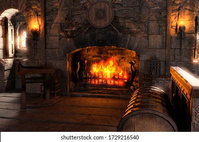 3D rendering of a medieval bedroom interior with a fireplace