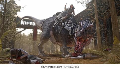 3D rendering of a medieval spear man riding a Tyrannosaurus Rex.