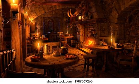 3D rendering of a medieval tavern interior