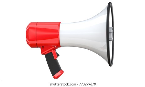 3d rendering of megaphone, isolated on white background. 3D illustration of bullhorn -Clipping Path