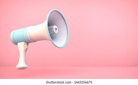 Megáfono de representación 3d en fondo rosa