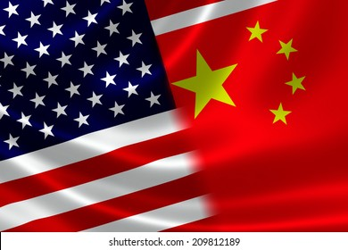 3D rendering of a merged Chinese and USA flag on satin texture. Concept of the mutually influential relations between the two countries politically and economically.