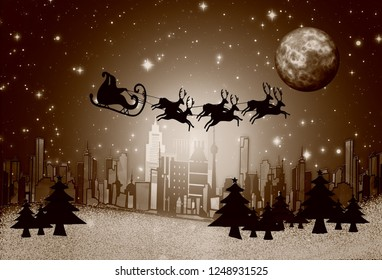3D rendering Merry Christmas Greetings Background with santa claus