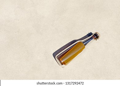 3d Rendering of message in a bottle