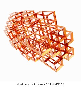 3d Rendering of metal cubes wireframe isolated on White background