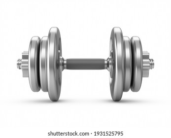 3D rendering metal dumbbells isolated on white background