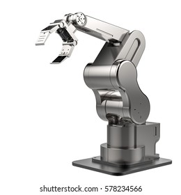 3d rendering metal robotic arm isolated on white