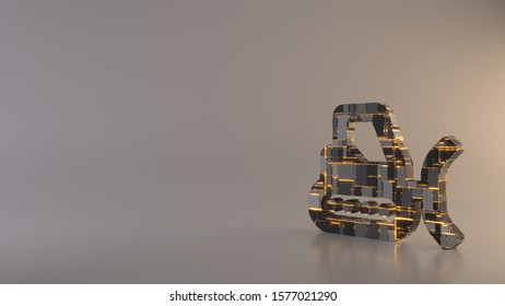 3d rendering metal techno rectangular geometric greeble symbol of snowplow icon with glowing lines with blurred reflection floor on light background