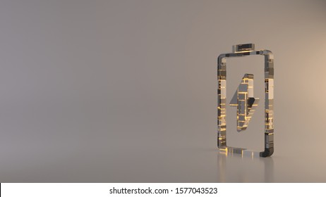 3d rendering metal techno rectangular geometric greeble vertical vertical symbol of charging empty battery with flash icon with glowing lines with blurred reflection floor on light background