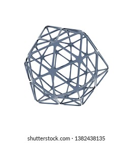 3d Rendering of metal wireframe object