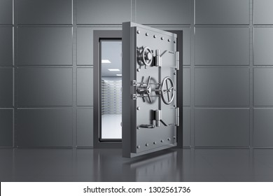 3d rendering metallic bank safe or steel safe open