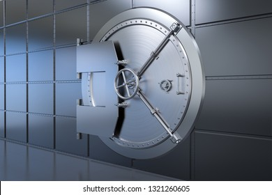 3d rendering metallic bank safe or bank vault