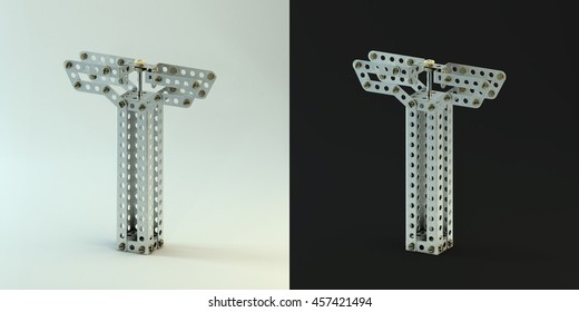 3d rendering. Metallic constructor font with rivets and screws. Building kit 3d font on black and white background. Uppercase letters T.