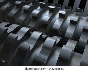 3D rendering - metallic shredder blades