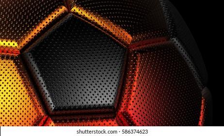 3D Rendering Metallic Soccer Ball. 3D illustration. 3D CG. High resolution.