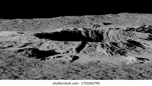 3d rendering. A meteorite crater on the surface of a satellite, moon or planet. Procedurally generated crater texture.