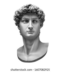 3D rendering of Michelangelo's David bust isolated on white. High quality detailed monochrome illustration.