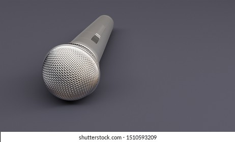 A 3d rendering of a microphone on a flat surface.