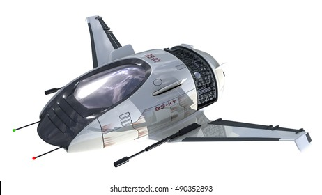 3D rendering of military drone or alien spacecraft for science fiction interstellar space travel or futuristic fantasy war games, with the clipping path included in the file.