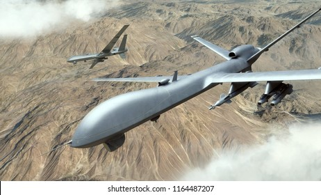 A 3d rendering of a military UAV flying over a desert.