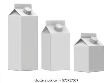 3D rendering Milk box isometric view, 500ml,750ml,1L Milk Carton Box with Screw Cap Mock-up, White clear empty box