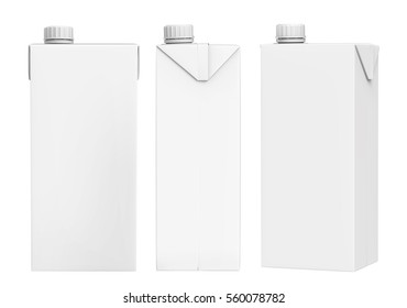 3D rendering Milk and Juice Carton Packaging on white background, Mock-up