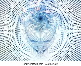 3D Rendering - Mind Field series. Design composed of head of wire mesh human model and fractal patters as a metaphor on the subject of artificial intelligence, science and technology
